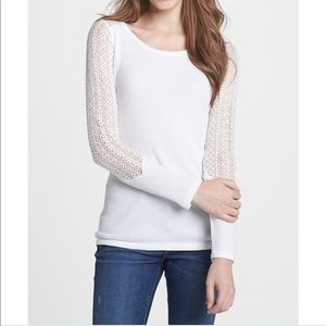 Lucky Brand Bobbi Lace Inset Thermal Tee